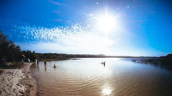 Honeyeater Lake, Moreton Island, freshwater lake,